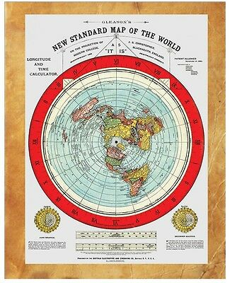 """Flat Earth Map - Gleason's New Standard Map Of The World - 8"""" x 10"""" 1892"""