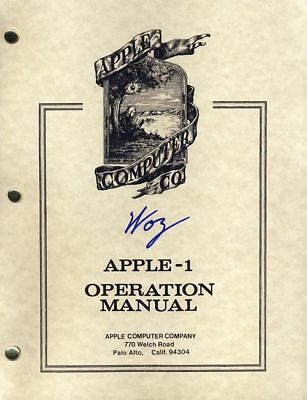 Steve Woz Wozniak SIGNED AUTOGRAPHED Apple 1 Computer Operation Manual Founder