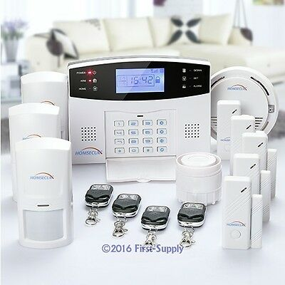 HOMSECUR Wireless&Wired GSM SMS Home Security Burglar Alarm System +Smoke Sensor