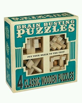 NEW Professor Puzzle Brain Busting 4 Wooden Puzzle Set