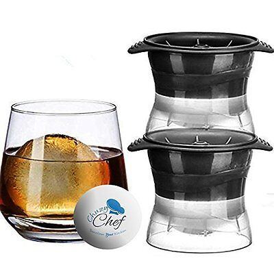 Chuzy Chef Ice Ball Maker, Sphere Mold Creates Perfect 2.5 Inch Round Ice Cube 2
