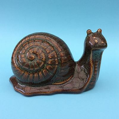 RETRO POTTERY SNAIL FIGURINE Unusual Rare Brown Green Glaze 15cm lenght