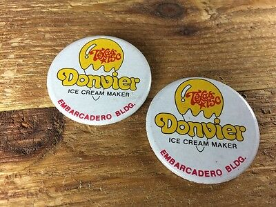 2 Hipster Cool Vintage Donvier Ice Cream Maker Advertising Pinback Pin Button