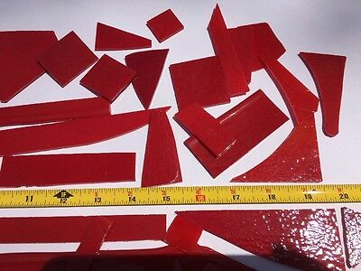 2 lbs Lot Red Fusible Stained Stain Glass Small-Med Sizes #1309 non square tiles