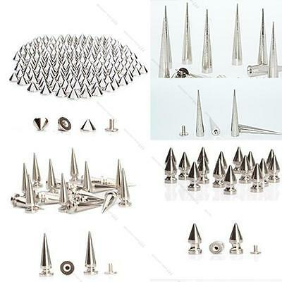 50x Spikes Cone Screwback Silver Nickel Bullet #L Punk Rivet Leather Bags Craft