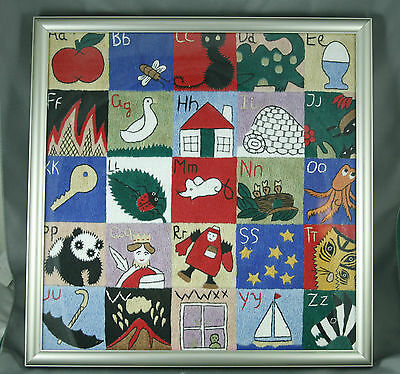 """Framed Crewel Embroidery A-Z Picture Needle Work Multi Color Square 12.5 x 12.5"""""""