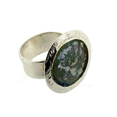 Round Shaped Ancient Roman Glass Oxidized Sterling Silver Ring Size 8