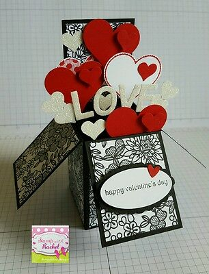 Handmade card, card in a box, Valentines day card black & red hearts,stampin up