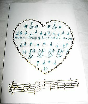Birthday Card Completed Cross Stitch In A Heart Music 6x4""