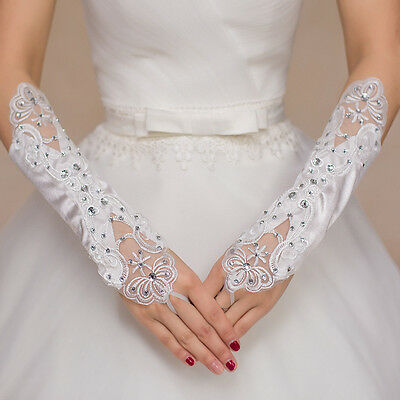 Wedding Gloves Bride White Lace Beaded Fashion #L Wedding Party Bridal Gloves