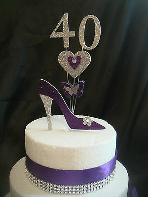 glitter shoe heart butterfly any number trim birthday cake topper decoration
