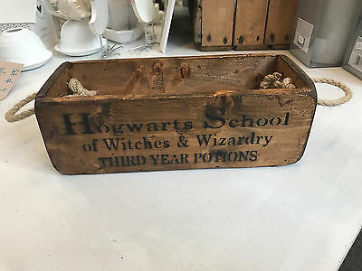 Vintage Harry Potter Hogwarts School Wooden Storage Trunk Box Crate Small Chest