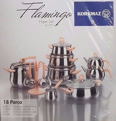 Korkmaz A 1701 Flamingo 18 Pcs  Hyper Ceyiz Seti 18/10 Rostfrei  Induction