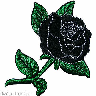 Black Rose Tattoo Rider Biker Motorcycle Rockabilly Flower Iron-On Patches #A023