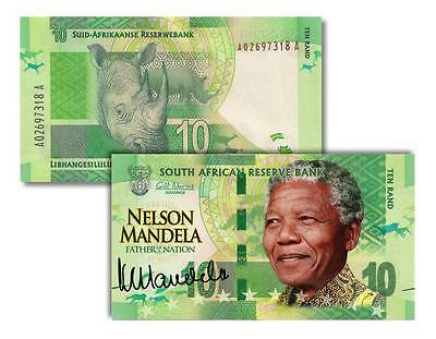 SOUTH AFRICA CRISP UNC TEN RAND COLORIZED MANDELA BANKNOTE Legal Tender **RARE**