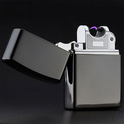 Black USB Rechargeable Single Arc Cigarette Lighter Electric Windproof Best Gift