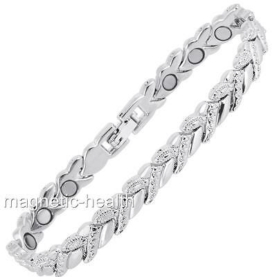Ladies Magnetic Therapy Bracelet Silver  Bangle Arthritis Pain Relief 179