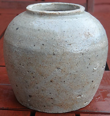 ANTIQUE 1870's.RUSTIC WARE ASIAN GINGER JAR.STUNNING COLLECTABLE ARTIFACT