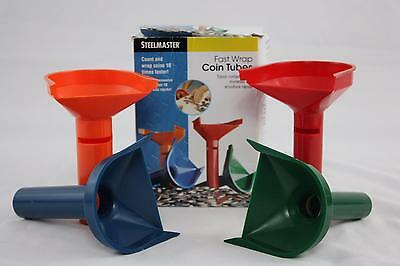 Fast Wrap COIN COUNTING TUBES MMF Set of 4 Quarters/Dimes/Nickels/Pennies