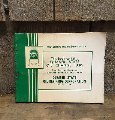 Vintage 1950s Quaker State Oil Change Tabs Stickers Book Brochure