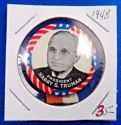 1948 President Harry S. Truman Presidential Political Pin Pinback Button Ribbon