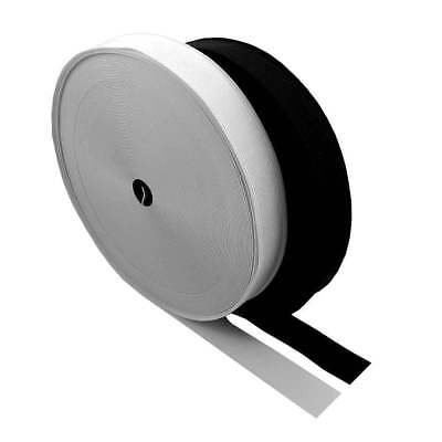 19mm (3/4 inch) Wide Flat Black / White Strong Woven Elastic Sewing Dressmaking