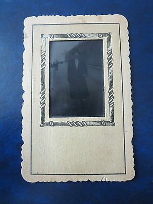 """VINTAGE PHOTOGRAPH  2""""x2 1/2"""" 1880's TIN FRAMED CREEPY--HAUNTING--OLD  WOMAN"""