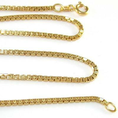 "14K Yellow Gold Box Chain Link Necklace 20""  2mm QZ"