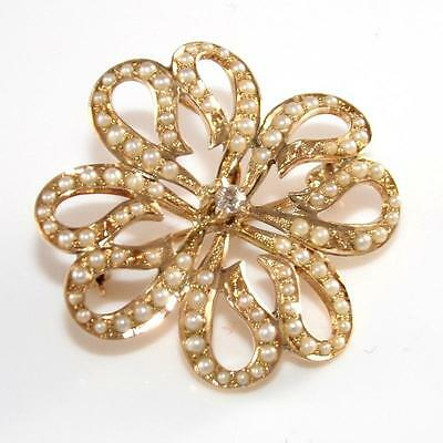 VIntage Estate 10K Yellow Gold Diamond Seed Pearls Flower Pin Brooch QZ