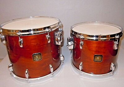"NEW Gretsch DOUBLE-HEADED POWER TOMS, 10x12"" AND 12x14"" Walnut, 1983"