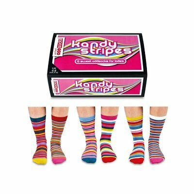 Odd Socks Kandy Stripes Ladies Gift Box Size 4-8 - Gifts For Her Stocking Filler
