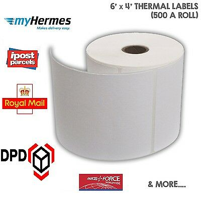 "100 x 150mm (6x4"") WHITE Thermal Labels 500 on a Roll ZEBRA, CITIZEN, TOSHIBA"
