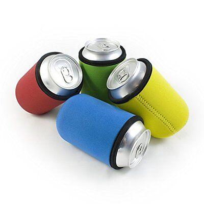 Beer Can Coolies Set of 4 Assorted Colors - Keep Drinks Cool & Hands Dry as Gift
