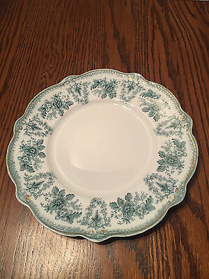 "WH Grindley Brussels Blue & White Transfer Ware 8 3/4"" Plate 1897 England"