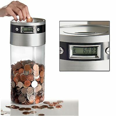 Digital Coin Counter LCD Display Jumbo Supersize Jar Money Box Counts Coins