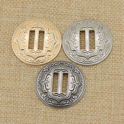 3pcs Western Slotted Concho with Slots DIY Leathercraft Hardware Gold Silver