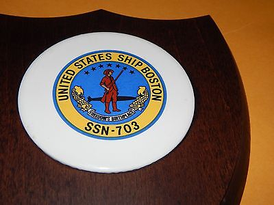 Vintage Uss Boston Us Navy Submarine Ssn-703 Plaque