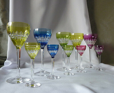 10 Val St Lambert Harlequin glasses, VAS68 cut, signed
