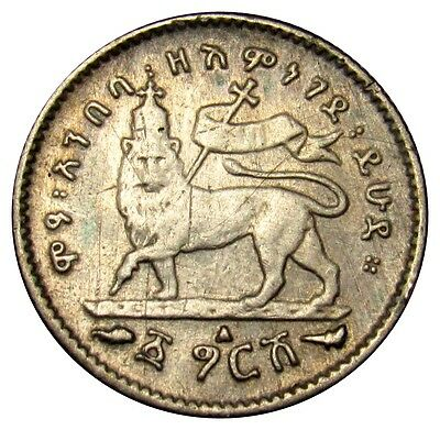 Ethiopia 1 Gersh silver coin KM#12 EE 1895 (1902-03) lion CLEANED VE01 (a1)