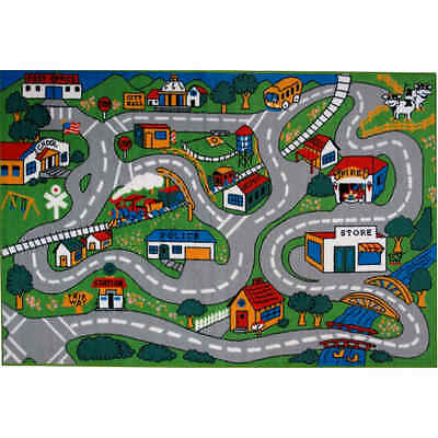 """Shag Area Rug for Children Play 19""""X29"""" Road Driving Kids Street City map Carpet"""