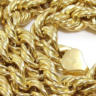 "10K Yellow Gold Twisted Rope Chain Link Necklace 26""  9mm  QZ"
