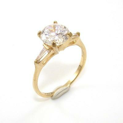 10K Yellow Gold Clear CZ Engagement Wedding Ring Size 7.5 QZ