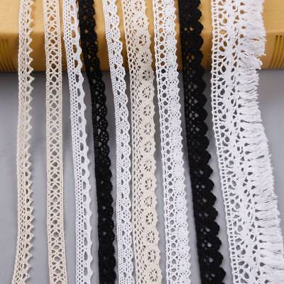 5Yds Lace Trim 10-64mm Black Crochet Cotton Ribbon Vintage Embroidered Crafts