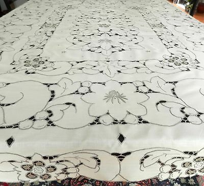 """Vintage hand embroidery tablecloth  57""""x47"""" cutwork 1960s unused Madeira style"""