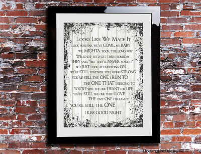 Shania Twain You're Still The One Lyrics Print Song Personalised Canvas Gift