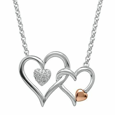 I Am Loved® Diamond Interlocking Heart Necklace In Sterling Silver & 14K Gold