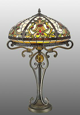 "Beautiful Tiffany Style Real Stained Handcrafted Glass Table Lamp 16"" Wide Shade"