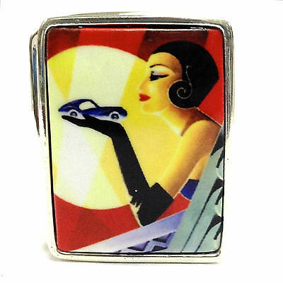 Enamel Art Deco Style Lady Holding Car Pill Box Fine Solid Silver Hallmarked