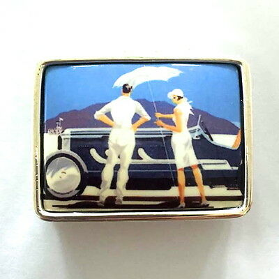 Enamel Art Deco Style Bonnerville Salt Flats Car Pill Box 925 Sterling Silver