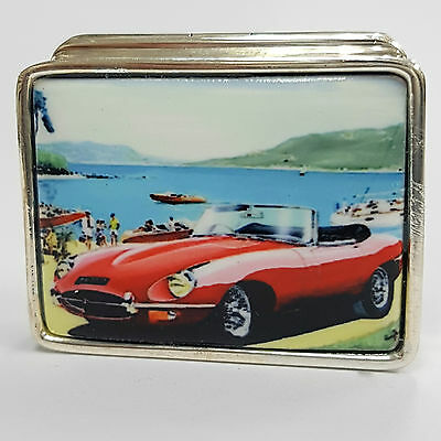 Enamel Vintage Style Red E Type Jaguar Pill Box 925 Sterling Silver Hallmarked